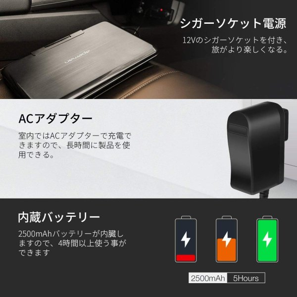 APEMAN ポータブルDVDプレイヤー 9.5インチ大画面 659gで本体手軽に運べる 2500mAh大容量充電バッテリーで4時間連続使用