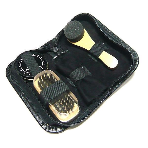 靴みがき シューケア コンパクト 16cm×8cm 5点セット ブラシ・クロス・磨きスポンジ・汚れ落とし・専用ケース