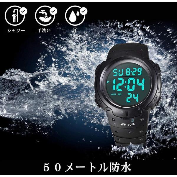 ff8a8ba8f6 メンズ デジタル腕時計 防水腕時計 50メートル防水 ブラック大文字盤 ストップウオッチ アラーム LED バックライト ...
