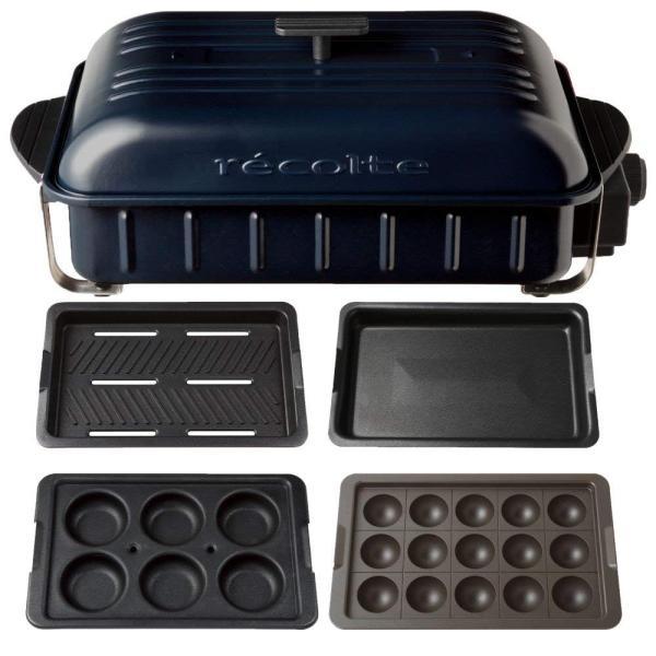 recolte HOME BBQ レコルト ホームバーベキュー + バラエティプレート + たこ焼きプレート 3点セット RBQ-1 (ネイ|eternalsea|05
