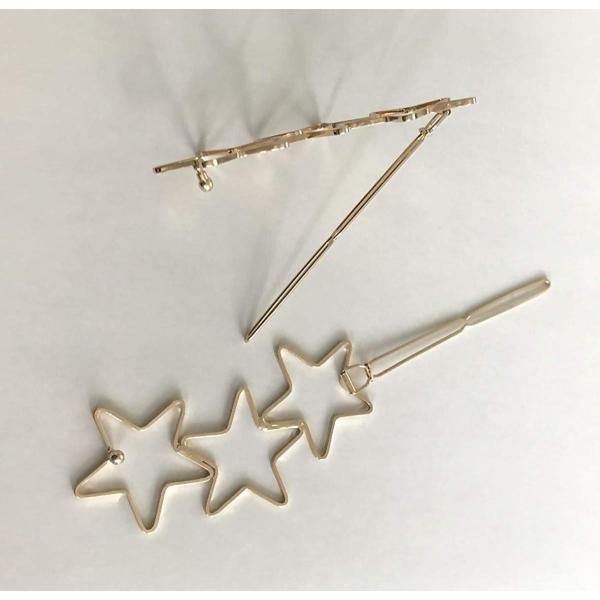 星のヘアピン 三星 三ッ星 星アクセサリー ヘアアクセサリー 2個セット