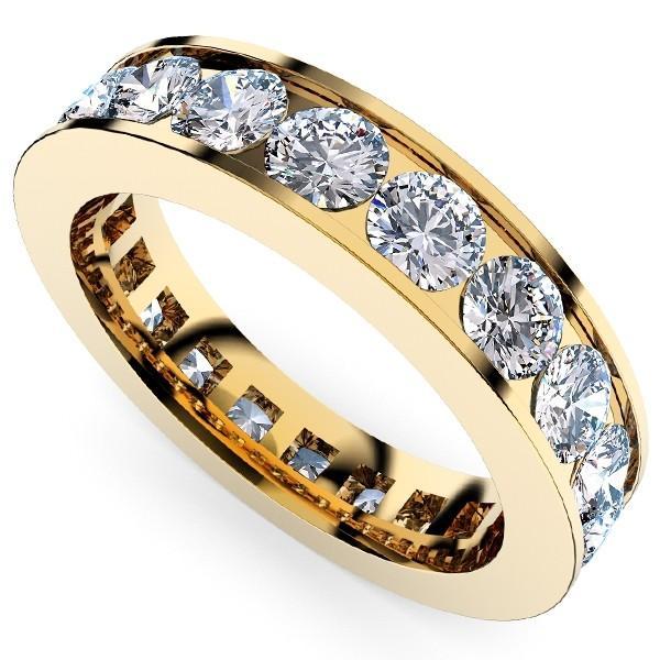 [e389-294]K18YGダイヤモンド フルエタニティリング2.88Ct[直径3.2mm x 24Pc] 19〜22号 (SI 毎日のファッションから婚約指輪・結婚指輪にも!