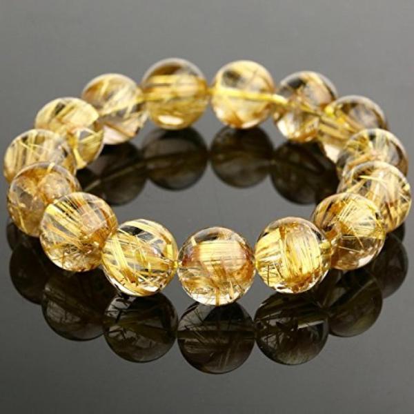 ブレスレット ペア レディースジュエリー Golden Rutilated Quartz Bracelet 15mm Round Beads 77.9g #U0015 正規輸入品|etincelle