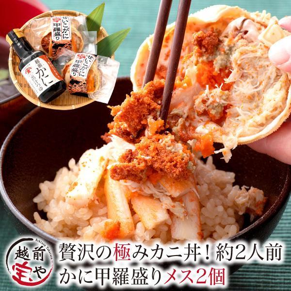カニ丼 セイコガニ 甲羅盛り 2個 越前ガニ 出汁つゆ セット 干しのり おまけ付 約2人前 香箱ガニ 海鮮丼 カニ せいこがに ((冷凍))