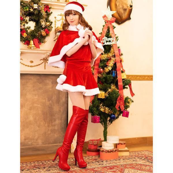 サンタ コスプレ レディース ケープ サンタクロース コスチューム クリスマス 衣装 大人用 ポンチョ|etoilekobe|07