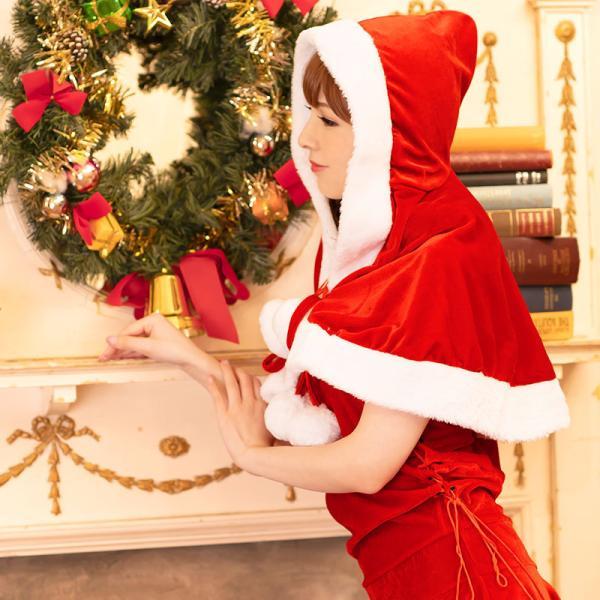 サンタ コスプレ レディース ケープ サンタクロース コスチューム クリスマス 衣装 大人用 ポンチョ|etoilekobe|08