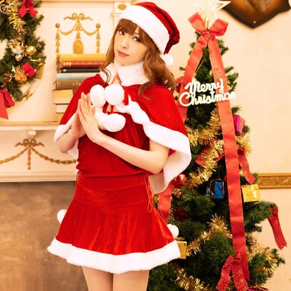 サンタ コスプレ レディース ケープ サンタクロース コスチューム クリスマス 衣装 大人用 ポンチョ|etoilekobe|09