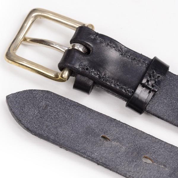 リアルハーネス スティラップレザー馬具革ベルト 28mm 英国製 ホールナンバー付 UKブライドルレザー 真鍮バックル ブラック eton 04