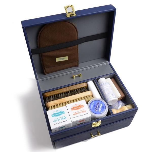 M.モゥブレィ M.MOWBRAY シューケア グランブルーセット+(プラス)基本ケア用品11点の本格派セット ブルー系 フェイクレザー張り 靴磨きセット