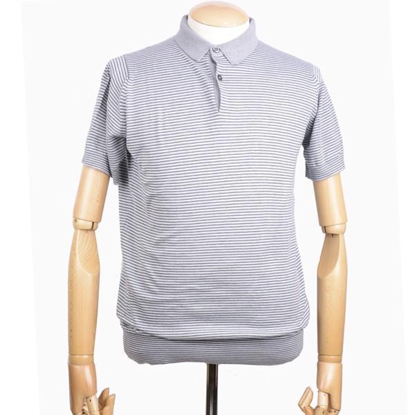 春夏 ジョンスメドレー メンズ JOHN SMEDLEY 半袖ポロニットシャツ「イートン」ボーダークレリックポロ シーアイランドコットン 英国王室御用達 シルバー|eton