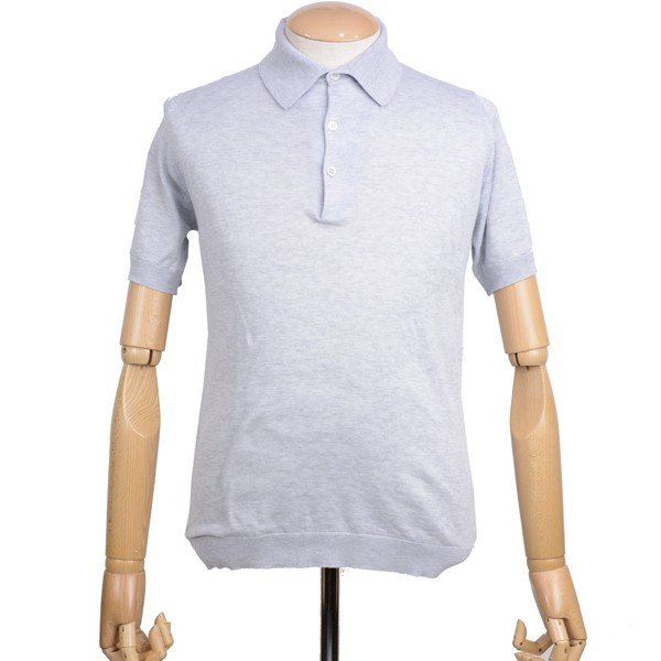 春夏 ジョンスメドレー メンズJOHN SMEDLEY 半袖ポロニットシャツ S3798 フェザー グレイ シーアイランドコットンニット無地 英国王室御用達 日本別注モデル|eton