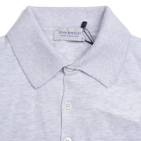春夏 ジョンスメドレー メンズJOHN SMEDLEY 半袖ポロニットシャツ S3798 フェザー グレイ シーアイランドコットンニット無地 英国王室御用達 日本別注モデル|eton|04
