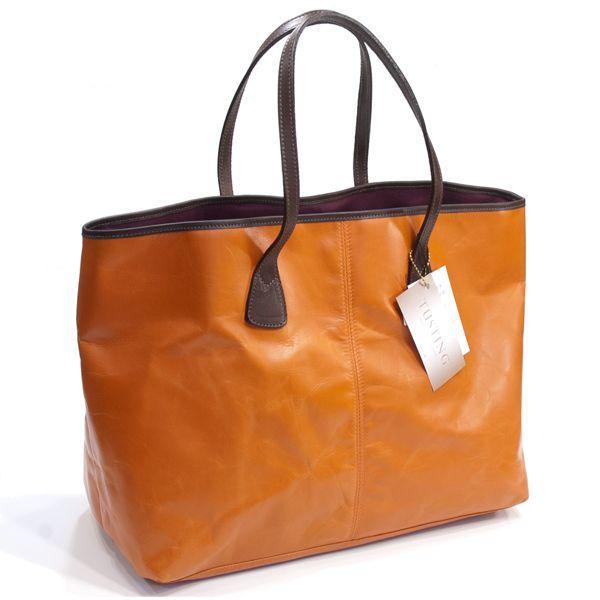 タスティング「バイソン トートバッグ」シューレザー(バッファロー/仔水牛革)超軽量革製トートバッグ(オレンジ)|eton