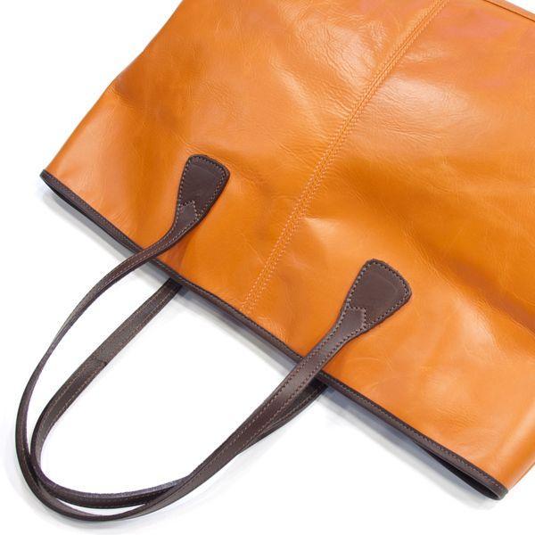 タスティング「バイソン トートバッグ」シューレザー(バッファロー/仔水牛革)超軽量革製トートバッグ(オレンジ)|eton|05