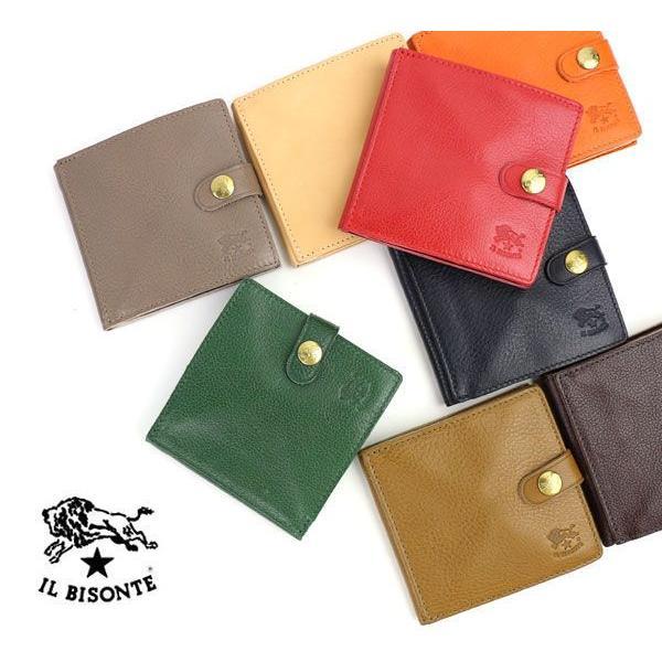 イルビゾンテ IL BISONTE レザー 二つ折り ミニ財布・412228-0061402