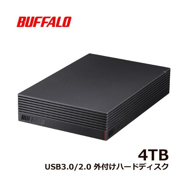 外付HDD バッファロー HD-NRLD4.0U3-BA [USB3.1/USB3.0/USB2.0 外付けHDD PC用&TV録画用 静音&防振&放熱設計 日本製 4TB]|etrend-y