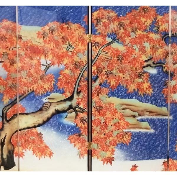 漆絵 横山大観の名作_紅葉 左隻 屏風仕立て|eurasia-art|02