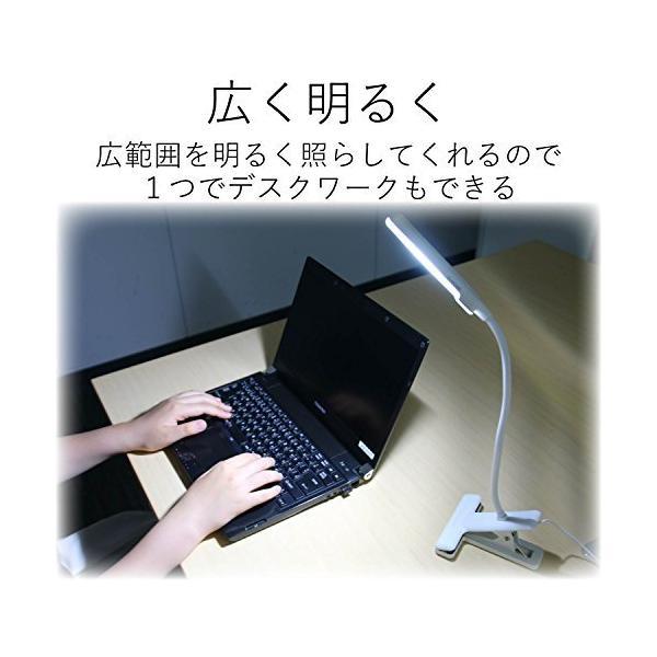 エレコム LEDクリップライト USBAC対応 タッチセンサー 広域配光 ホワイト LEC-C012WH|eureka-in-the-y|02