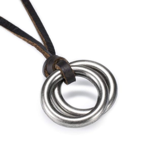 レザーネックレス ペンダント 本革 2連リング ダブルリング 革ひも 長さ調整可 金属アレルギー対応 フリーサイズ メンズ レディース兼用 合金 アンティーク調|eurokohaku