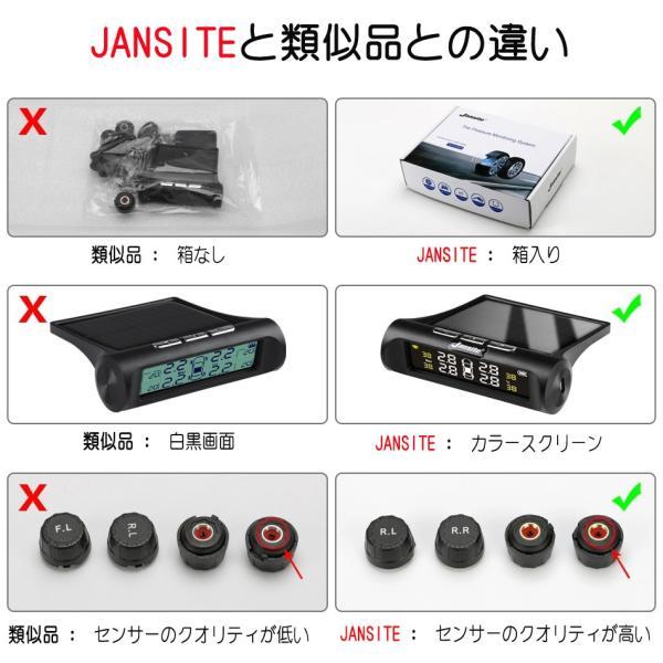 JANSITE タイヤ空気圧モニター 外部センサー TPMS 四輪監視 ソーラー式 USB給電 簡単取付け 太陽光発電 エアープレッシャーチェック|event-wristband|03