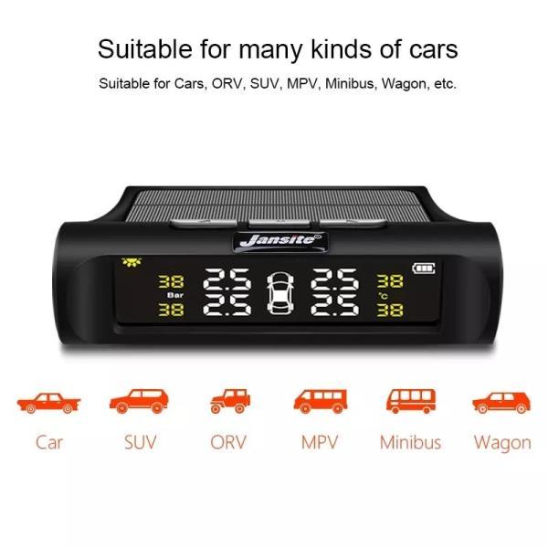 JANSITE タイヤ空気圧モニター 外部センサー TPMS 四輪監視 ソーラー式 USB給電 簡単取付け 太陽光発電 エアープレッシャーチェック|event-wristband|06