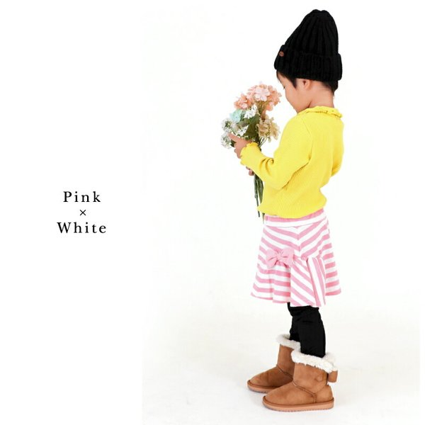 \SALE/レギンス付きスカート インナーパンツ付きスカート スカッツ 女の子 ボーダー リボン  80 90 100 110 120 130 こども服 キッズ ベビー|evercloset|12