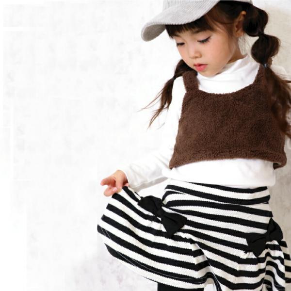 \SALE/レギンス付きスカート インナーパンツ付きスカート スカッツ 女の子 ボーダー リボン  80 90 100 110 120 130 こども服 キッズ ベビー|evercloset|09