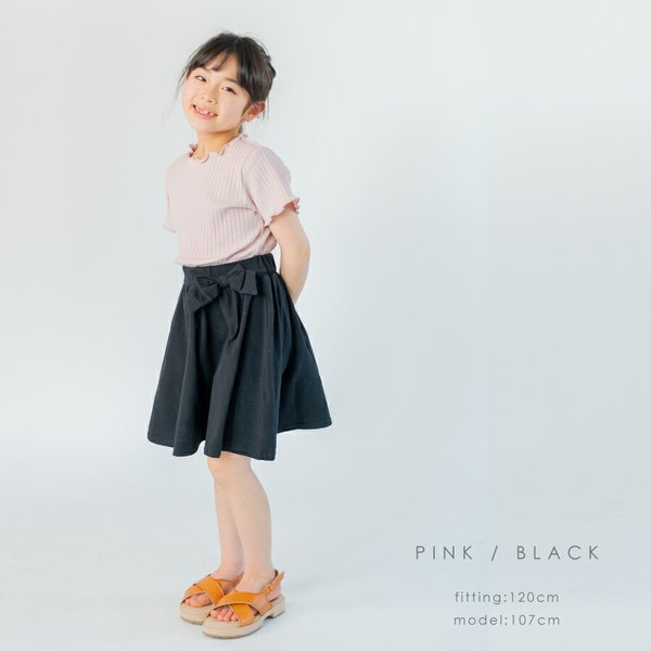半袖ワンピース ドッキング リボン フレアスカート 切り替え Aライン シンプル 無地 女の子 キッズ 春 夏|evercloset|13