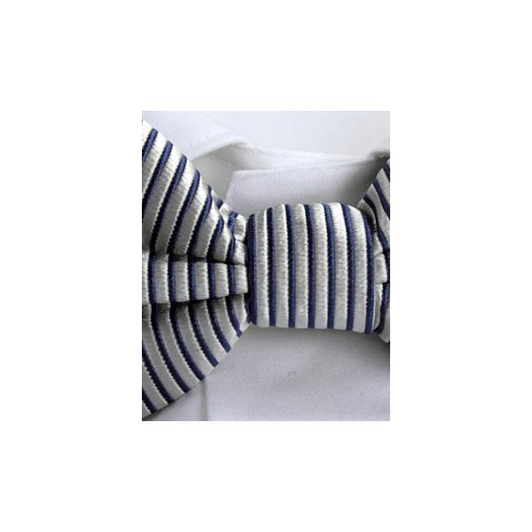 FRANCO BASSI フランコ バッシ ボウ タイ ピケ ストライプ シルク ITALY製 プレゼント ギフト 結婚式 お誕生日 記念日 グレー|evergrays|03