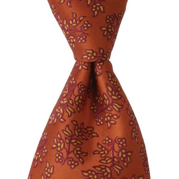 PENROSE ペンローズ(London) ネクタイ ボタニカルパターン シルク ITALY製 プレゼント ギフト 結婚式 お誕生日 記念日 オレンジ|evergrays