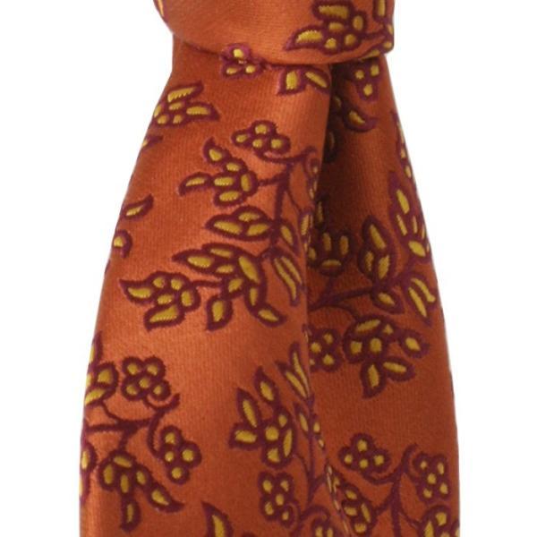 PENROSE ペンローズ(London) ネクタイ ボタニカルパターン シルク ITALY製 プレゼント ギフト 結婚式 お誕生日 記念日 オレンジ|evergrays|05