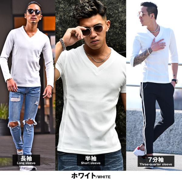 ロングTシャツ メンズ おしゃれ 無地 Vネック 半袖 七分袖 長袖 ロンT 白 黒 30代 40代 50代 2枚目半額|evergreen92|15