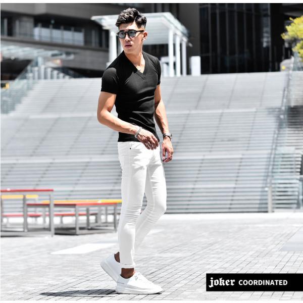 ロングTシャツ メンズ おしゃれ 無地 Vネック 半袖 七分袖 長袖 ロンT 白 黒 30代 40代 50代 2枚目半額|evergreen92|16