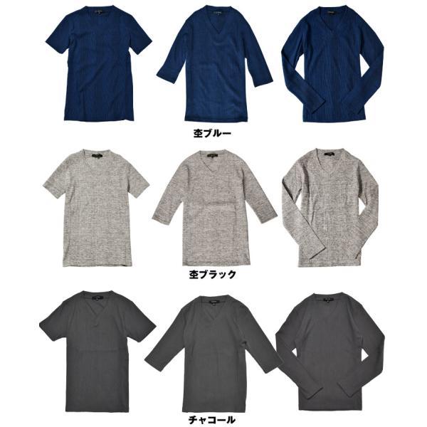 ロングTシャツ メンズ おしゃれ 無地 Vネック 半袖 七分袖 長袖 ロンT 白 黒 30代 40代 50代 2枚目半額|evergreen92|20