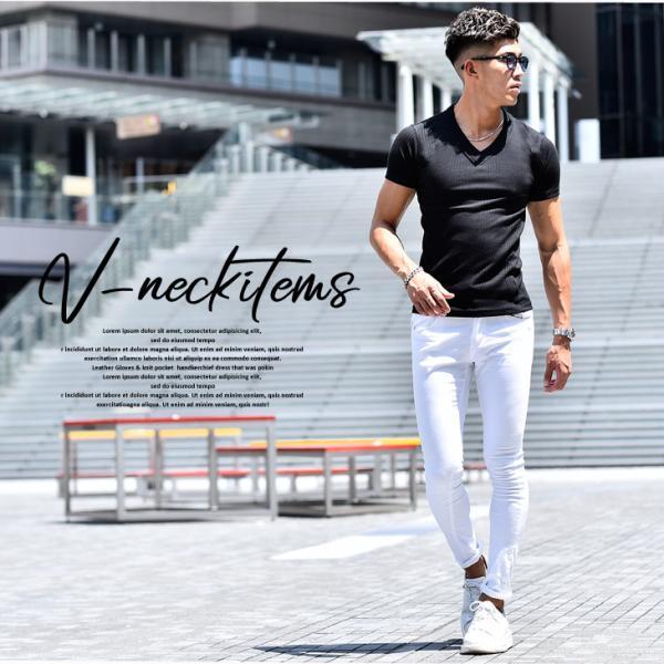 ロングTシャツ メンズ おしゃれ 無地 Vネック 半袖 七分袖 長袖 ロンT 白 黒 30代 40代 50代 2枚目半額|evergreen92|03