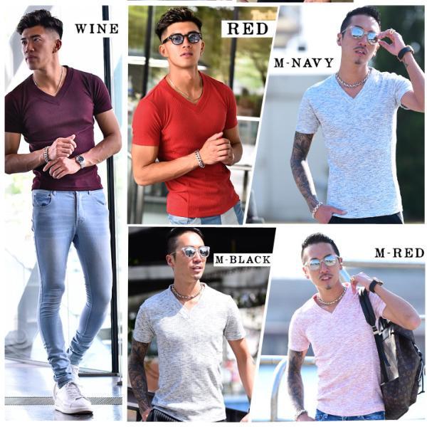 ロングTシャツ メンズ おしゃれ 無地 Vネック 半袖 七分袖 長袖 ロンT 白 黒 30代 40代 50代 2枚目半額|evergreen92|05