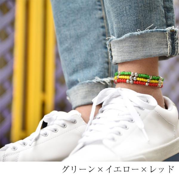 アンクレット メンズ レディース ペア ペアルック カップル ビーズアンクレット ホワイトハーツ カラフル ビーズ プレゼント 日本製|evergreen92|07