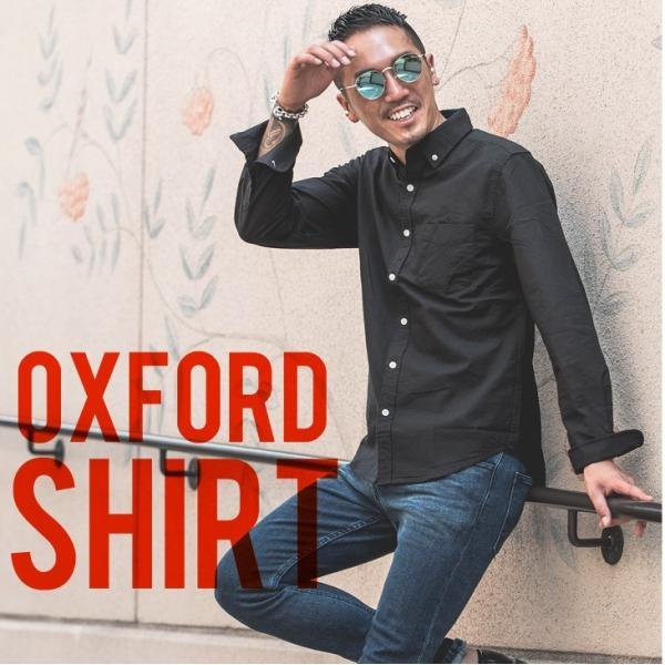 シャツ メンズ 長袖シャツ 長袖 オックスフォードシャツ コットンシャツ メンズシャツ ボタンダウンシャツ チェック柄 ストライプ|evergreen92|02