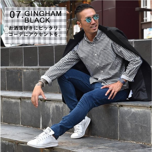 シャツ メンズ 長袖シャツ 長袖 オックスフォードシャツ コットンシャツ メンズシャツ ボタンダウンシャツ チェック柄 ストライプ|evergreen92|14