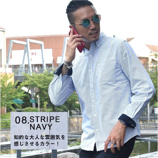 シャツ メンズ 長袖シャツ 長袖 オックスフォードシャツ コットンシャツ メンズシャツ ボタンダウンシャツ チェック柄 ストライプ|evergreen92|16