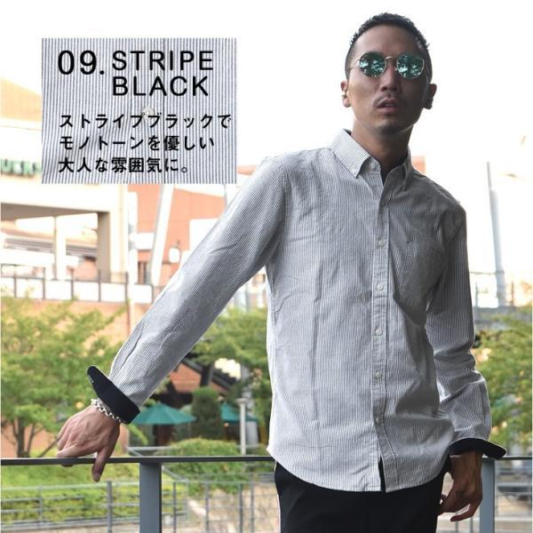 シャツ メンズ 長袖シャツ 長袖 オックスフォードシャツ コットンシャツ メンズシャツ ボタンダウンシャツ チェック柄 ストライプ|evergreen92|17