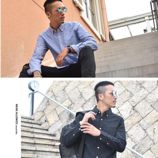 シャツ メンズ 長袖シャツ 長袖 オックスフォードシャツ コットンシャツ メンズシャツ ボタンダウンシャツ チェック柄 ストライプ|evergreen92|10