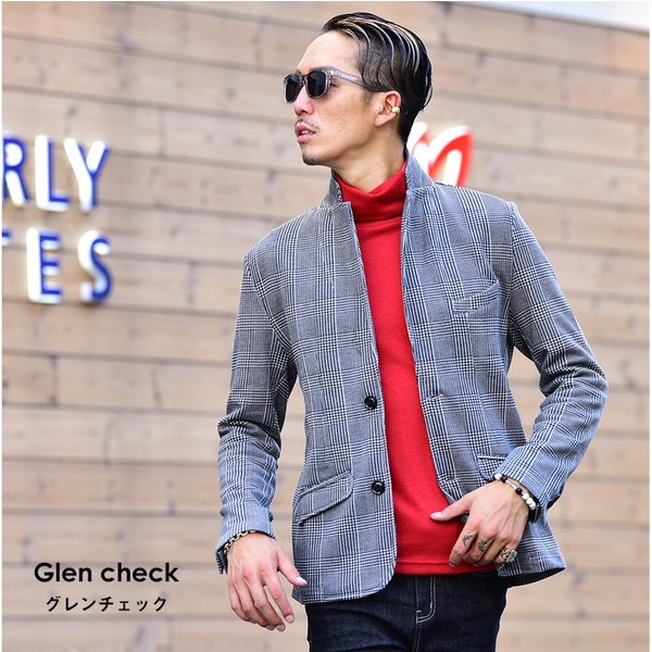 ジャケット メンズ テーラードジャケット スウェット テーラードジャケット アウター 柄 チェック 大きいサイズ スーツ|evergreen92|03