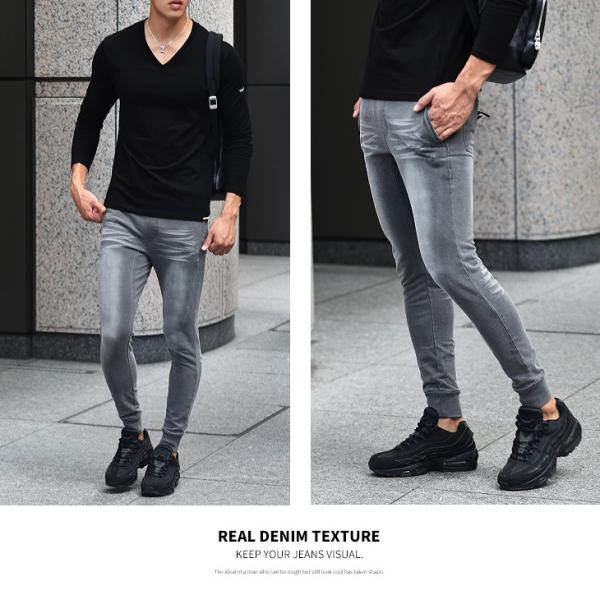 ジョガーパンツ メンズ デニム スウェットパンツ スウェット スウェットデニム カットデニム スリム ジョガー パンツ 大きいサイズ 小さいサイズ|evergreen92|15
