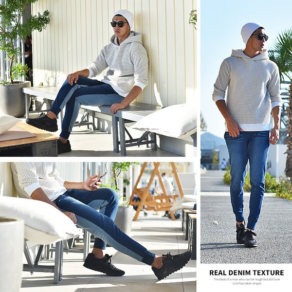 ジョガーパンツ メンズ デニム スウェットパンツ スウェット スウェットデニム カットデニム スリム ジョガー パンツ 大きいサイズ 小さいサイズ|evergreen92|17