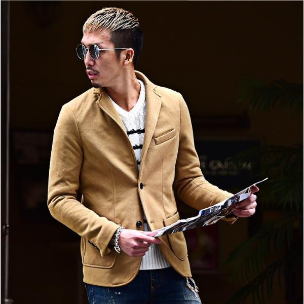 【在庫限り】 テーラードジャケット メンズ コート ジャケット ニット フリース ニットジャケット オシャレ アウター ニットフリース evergreen92 02