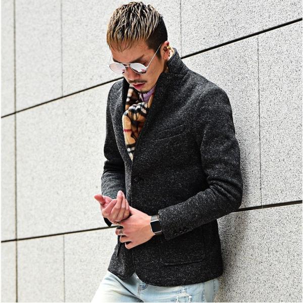 【在庫限り】 テーラードジャケット メンズ コート ジャケット ニット フリース ニットジャケット オシャレ アウター ニットフリース evergreen92 17