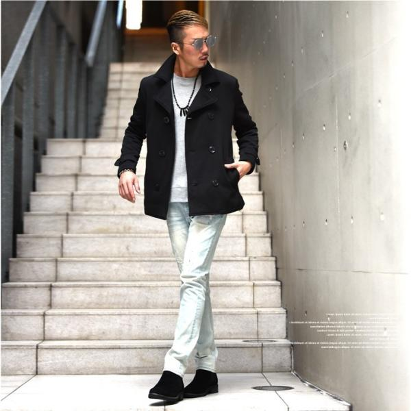 【在庫限り】 コート メンズ Pコート ジャケット ピーコート ニット フリース ニットジャケット ニットフリース|evergreen92|05