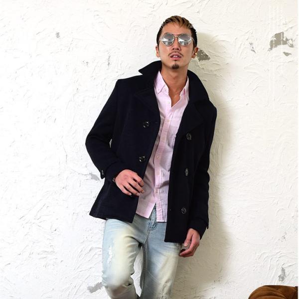 【在庫限り】 コート メンズ Pコート ジャケット ピーコート ニット フリース ニットジャケット ニットフリース|evergreen92|08