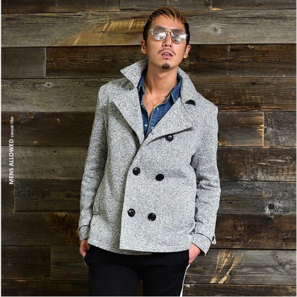 【在庫限り】 コート メンズ Pコート ジャケット ピーコート ニット フリース ニットジャケット ニットフリース|evergreen92|10